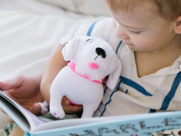 Charlee's Tales Plush Dog on Toddler's Lap