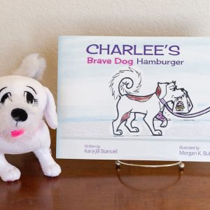 Charlee's Brave Dog Hamburger paperback and plush dog