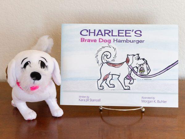 Charlee's Brave Dog Hamburger paperback and plush dog