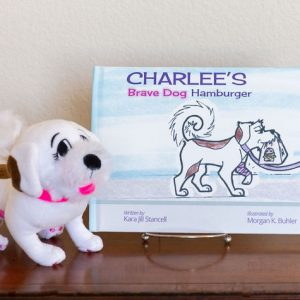 Charlee's Tales Brave Dog Hamburger hardcover with plush dog