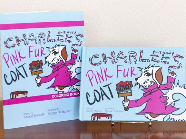 Charlees Tales Pink Fur Coat coloring book and hardcover