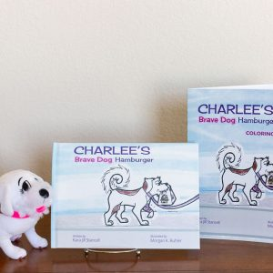 Charlee's Brave Dog Hamburger Hardcover, Coloring Book and Plush dog