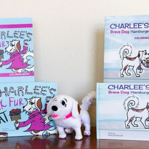 Charlee's Tales hardcover books and coloring books and plush dog