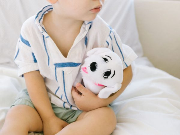 Charlee's Tales with Toddler and plush dog